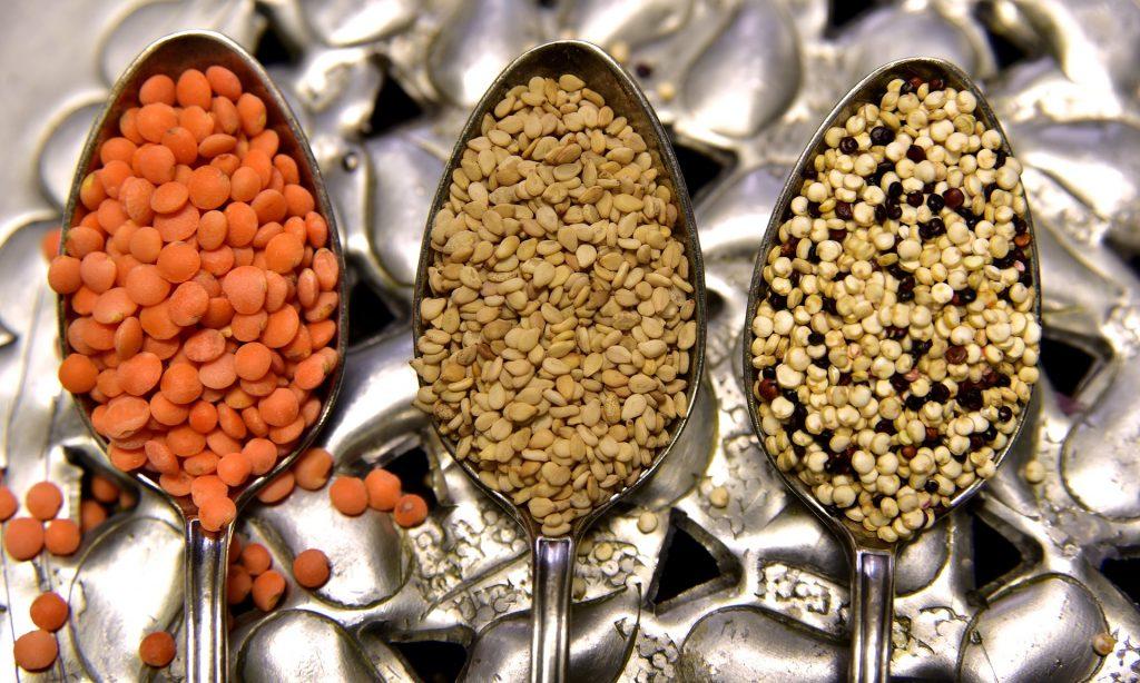 Lentils in spoons