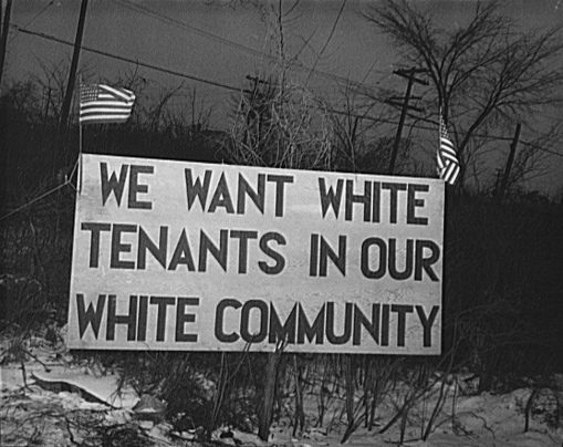 White tenants only sign