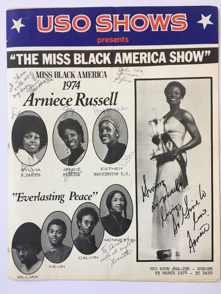 Miss Black America USO show poster